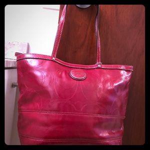 Coach red patent leather tote medium